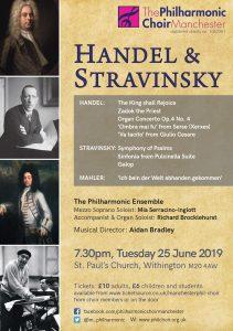 Stravinsky and handel programme for 25 June 2019 concert